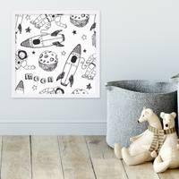 Kinder-Poster 'Kosmos' 30x30 cm Kinderzimmer Zeichnung Astronaut