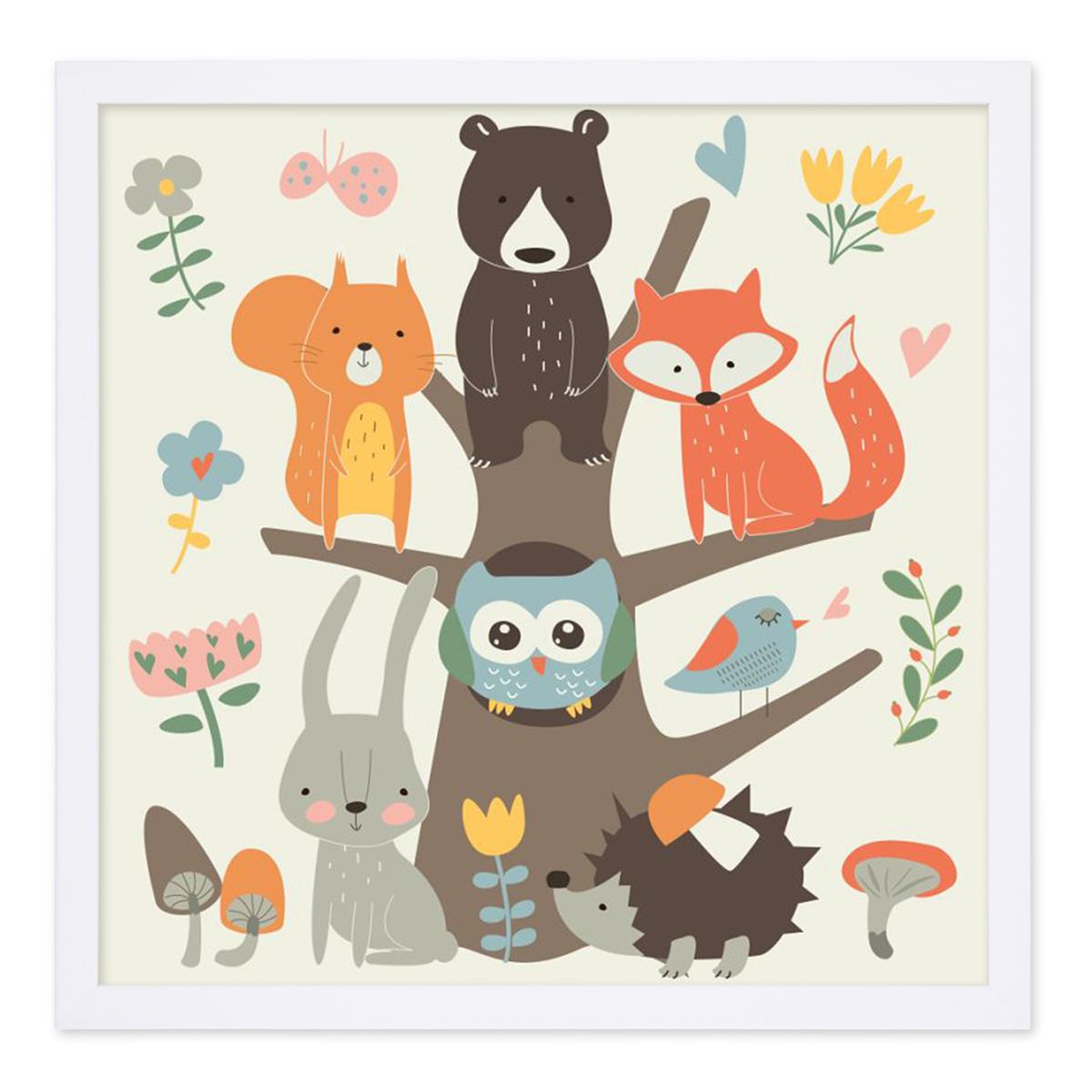 Kinder Poster Waldtiere 30x30 Cm Kinderzimmer Bunt Tiere Natur