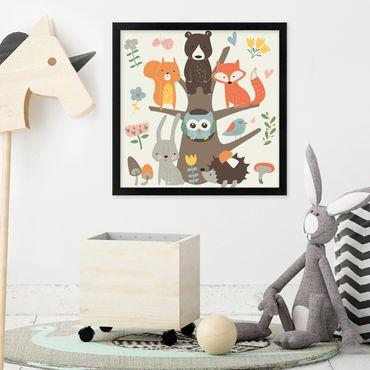 Kinder-Poster 'Waldtiere' 30x30 cm Kinderzimmer Bunt Tiere Natur