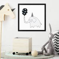 Kinder-Poster 'Elefant' 30x30 cm Kinderzimmer Tier-Bild Zeichnung – Bild 4