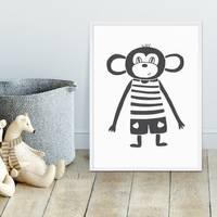 Kinder-Poster 'Affe' 30x40 cm Kinderzimmer Schwarz-Weiss Zeichnung – Bild 4