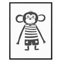 Kinder-Poster 'Affe' 30x40 cm Kinderzimmer Schwarz-Weiss Zeichnung – Bild 3