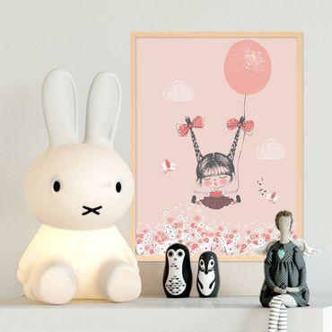 Kinder-Poster 'Mädchen mit Ballon' 30x40 cm Kinderzimmer Rosa Pink