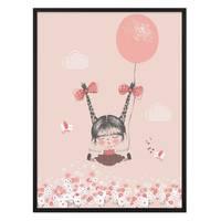 Kinder-Poster 'Mädchen mit Ballon' 30x40 cm Kinderzimmer Rosa Pink – Bild 3