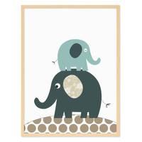 Kinder-Poster 'Elefanten' 30x40 cm Kinderzimmer-Poster Blau Tier – Bild 6
