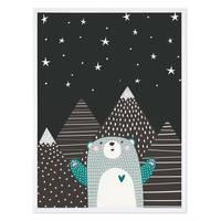 Kinder-Poster 'Sternenhimmel' 30x40 cm Kinderzimmer Blau Bär  – Bild 4