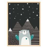 Kinder-Poster 'Sternenhimmel' 30x40 cm Kinderzimmer Blau Bär  – Bild 5