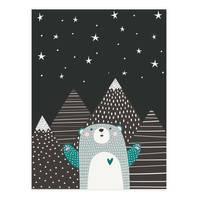 Kinder-Poster 'Sternenhimmel' 30x40 cm Kinderzimmer Blau Bär  – Bild 2