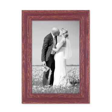 Vintage Bilderrahmen 21x30 cm / DIN A4 Holz Rot-braun Shabby-Chic Massivholz mit Glasscheibe und Zubehör / Fotorahmen / Nostalgierahmen