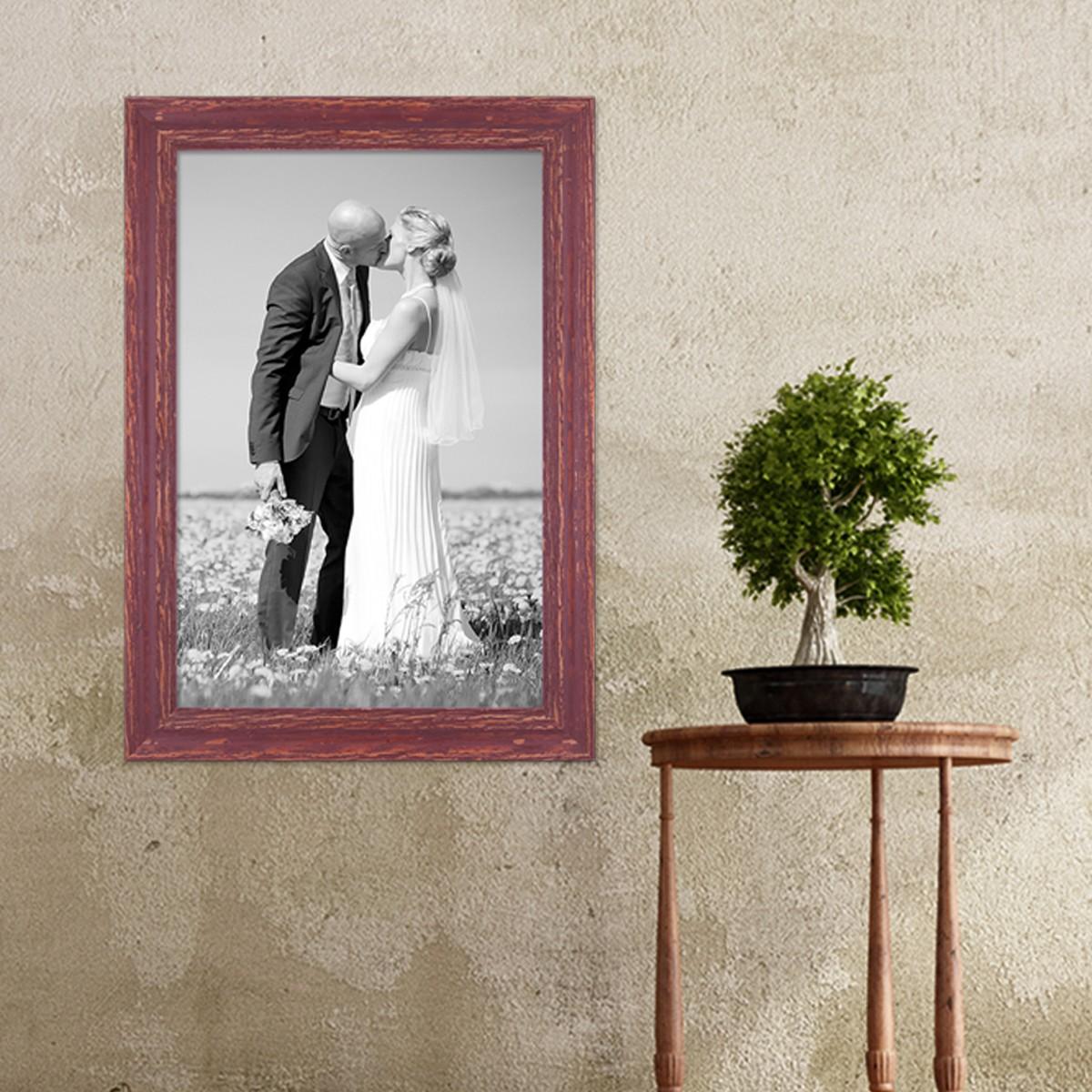vintage bilderrahmen 30x45 cm holz rot braun shabby chic massivholz mit glasscheibe und zubeh r. Black Bedroom Furniture Sets. Home Design Ideas