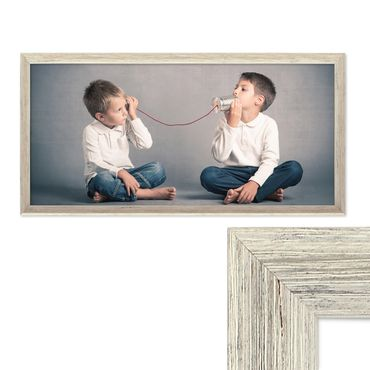 Panorama-Bilderrahmen Vintage Shabby-Chic Weiss 30x60 cm Massivholz mit Glasscheibe und Zubehör / Fotorahmen / Portraitrahmen
