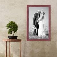 Bilderrahmen 40x60 cm Holz Rot-braun Shabby-Chic Vintage Massivholz mit Glasscheibe und Zubehör / Fotorahmen / Nostalgierahmen  – Bild 2