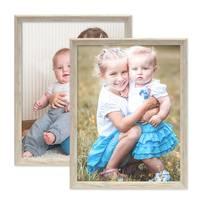 2er Set Vintage Bilderrahmen Shabby-Chic Weiss 30x45 cm Massivholz mit Glasscheibe und Zubehör / Fotorahmen / Portraitrahmen  – Bild 3