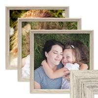 3er Set Vintage Bilderrahmen Shabby-Chic Weiss 30x30 cm Massivholz mit Glasscheibe und Zubehör / Fotorahmen / Portraitrahmen  – Bild 1