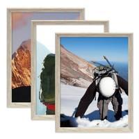 3er Set Vintage Bilderrahmen Shabby-Chic Weiss 30x42 cm / DIN A3 Massivholz mit Glasscheibe und Zubehör / Fotorahmen / Portraitrahmen  – Bild 5