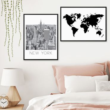 2er Set Schwarz-Weiss Poster No.27 40x50 cm Weltkarte New York Skyline World Map