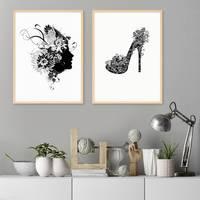 2er Set Design-Poster No.29 30x40 cm Schwarz-Weiss Fashion Floral Heel Mode Woman – Bild 5