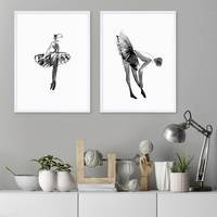 2er Set Design-Poster No.32 30x40 cm Ballerina Aquarell Schwarz-Weiss Ballet Bild – Bild 4