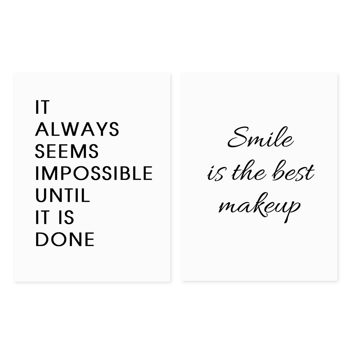 2er Set Poster Typographie Smile 30x40 Cm