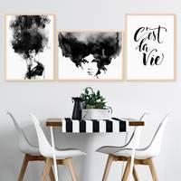3er Set Design-Poster No.42 30x40 cm Aquarell Woman Schwarz-Weiss Typographie Spruch – Bild 5