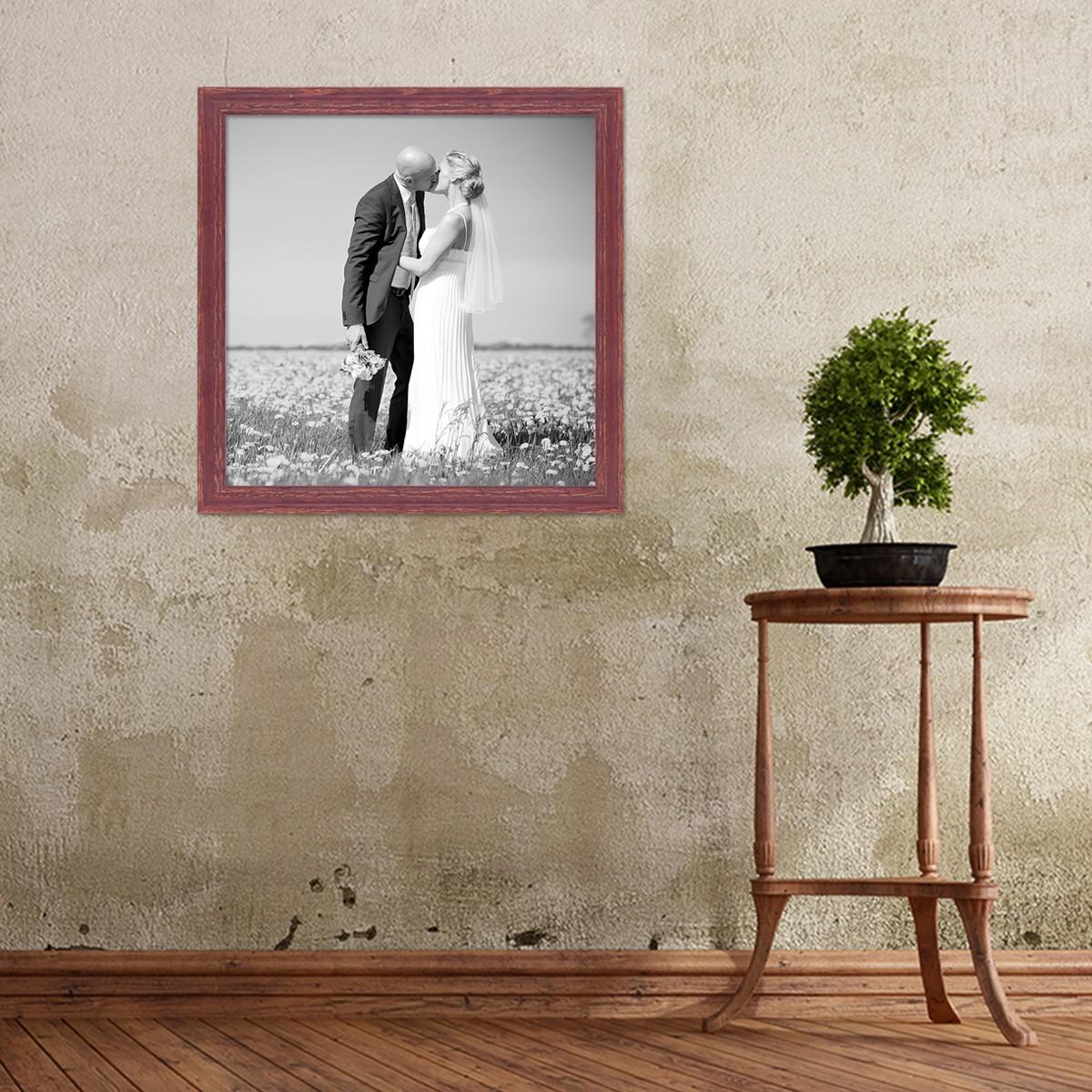 bilderrahmen 50x50 cm holz rot braun shabby chic vintage massivholz mit glasscheibe und zubeh r. Black Bedroom Furniture Sets. Home Design Ideas