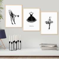 3er Set Design-Poster No.43 30x40 cm Ballerina Aquarell Schwarz-Weiss Kleid Fashion Mode – Bild 5