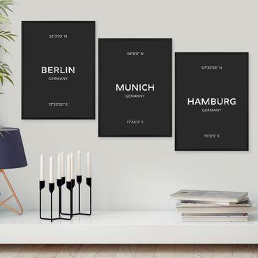 3er Set Schwarz-Weiss Poster No.47 30x40 cm Hamburg München Berlin
