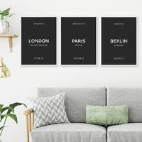 3er Set Poster No.48 London Paris Berlin 30x40 cm