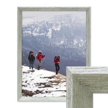 Vintage Bilderrahmen Shabby-Chic Grau 30x42 cm / DIN A3 Massivholz mit Glasscheibe und Zubehör / Fotorahmen / Portraitrahmen