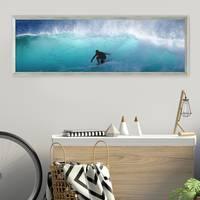Panorama-Bilderrahmen Vintage Shabby-Chic Grau 30x90 cm Massivholz mit Acrylglasscheibe und Zubehör / Fotorahmen / Portraitrahmen – Bild 2