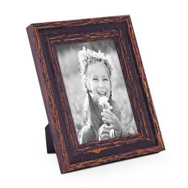 Bilderrahmen 13x18 cm Holz Dunkelbraun Shabby-Chic Vintage Massivholz mit Glasscheibe und Zubehör / Fotorahmen / Nostalgierahmen