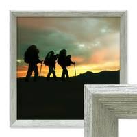Vintage Bilderrahmen Shabby-Chic Grau 60x60 cm Massivholz mit Acrylglasscheibe und Zubehör / Fotorahmen / Portraitrahmen – Bild 1
