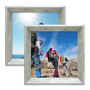 2er Set Vintage Bilderrahmen Shabby-Chic Grau 10x10 cm Massivholz mit Glasscheibe und Zubehör / Fotorahmen / Portraitrahmen