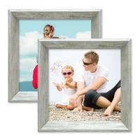 2er Set Vintage Bilderrahmen Shabby-Chic Grau 15x15 cm Massivholz mit Glasscheibe und Zubehör / Fotorahmen / Portraitrahmen  – Bild 3