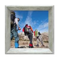 2er Set Vintage Bilderrahmen Shabby-Chic Grau 15x15 cm Massivholz mit Glasscheibe und Zubehör / Fotorahmen / Portraitrahmen  – Bild 5