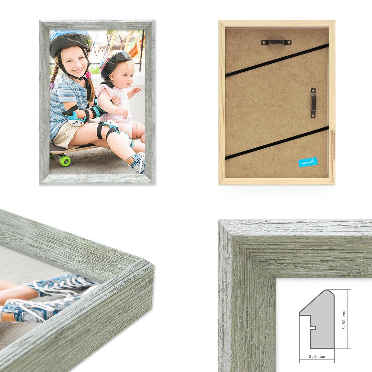 2er set vintage bilderrahmen shabby chic grau 20x30 cm massivholz mit glasscheibe und zubeh r. Black Bedroom Furniture Sets. Home Design Ideas