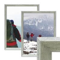 2er Set Vintage Bilderrahmen Shabby-Chic Grau 30x40 cm Massivholz mit Glasscheibe und Zubehör / Fotorahmen / Portraitrahmen  – Bild 1