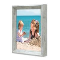 3er Set Vintage Bilderrahmen Shabby-Chic Grau 15x20 cm Massivholz mit Glasscheibe und Zubehör / Fotorahmen / Portraitrahmen  – Bild 3