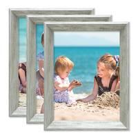 3er Set Vintage Bilderrahmen Shabby-Chic Grau 15x20 cm Massivholz mit Glasscheibe und Zubehör / Fotorahmen / Portraitrahmen  – Bild 4