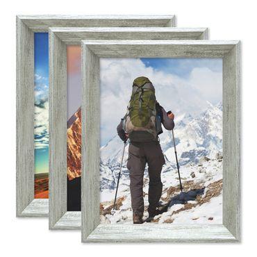 3er Set Vintage Bilderrahmen Shabby-Chic Grau 18x24 cm Massivholz mit Glasscheibe und Zubehör / Fotorahmen / Portraitrahmen