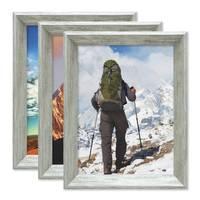 3er Set Vintage Bilderrahmen Shabby-Chic Grau 18x24 cm Massivholz mit Glasscheibe und Zubehör / Fotorahmen / Portraitrahmen  – Bild 1
