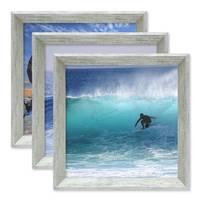 3er Set Vintage Bilderrahmen Shabby-Chic Grau 20x20 cm Massivholz mit Glasscheibe und Zubehör / Fotorahmen / Portraitrahmen  – Bild 3