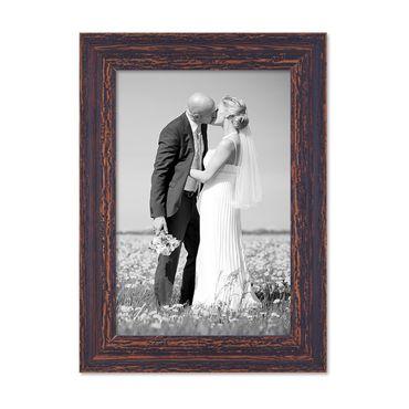 Vintage Bilderrahmen 20x30 cm Holz Dunkelbraun Shabby-Chic Massivholz mit Glasscheibe und Zubehör / Fotorahmen / Nostalgierahmen