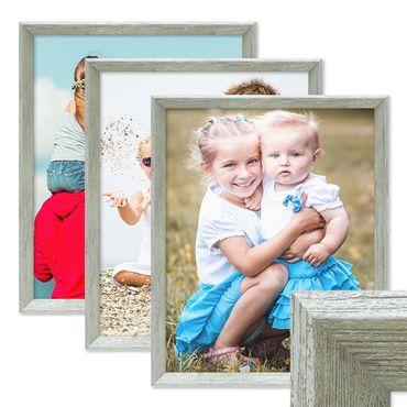3er Set Vintage Bilderrahmen Shabby-Chic Grau 30x45 cm Massivholz mit Glasscheibe und Zubehör / Fotorahmen / Portraitrahmen