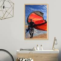 Vintage Bilderrahmen Shabby-Chic Eiche 60x80 cm Massivholz mit Acrylglasscheibe und Zubehör / Fotorahmen / Portraitrahmen – Bild 5