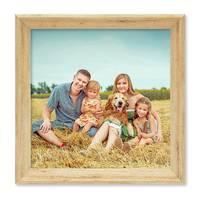 2er Set Holz-Bilderrahmen Natur 20x20 cm Massivholz mit Glasscheibe und Zubehör / Vintage Holzrahmen  – Bild 5
