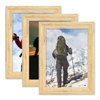 3er Set Vintage Bilderrahmen Shabby-Chic Eiche 10x15 cm Massivholz mit Glasscheibe und Zubehör / Fotorahmen / Portraitrahmen  – Bild 1