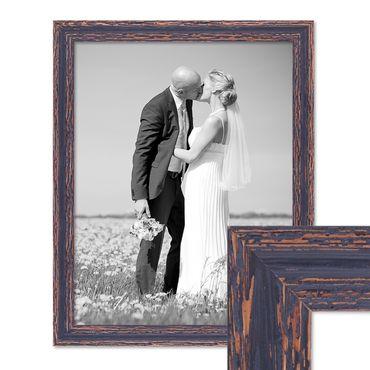 Vintage Bilderrahmen 40x50 cm Holz Dunkelbraun Shabby-Chic Massivholz mit Glasscheibe und Zubehör / Fotorahmen / Nostalgierahmen