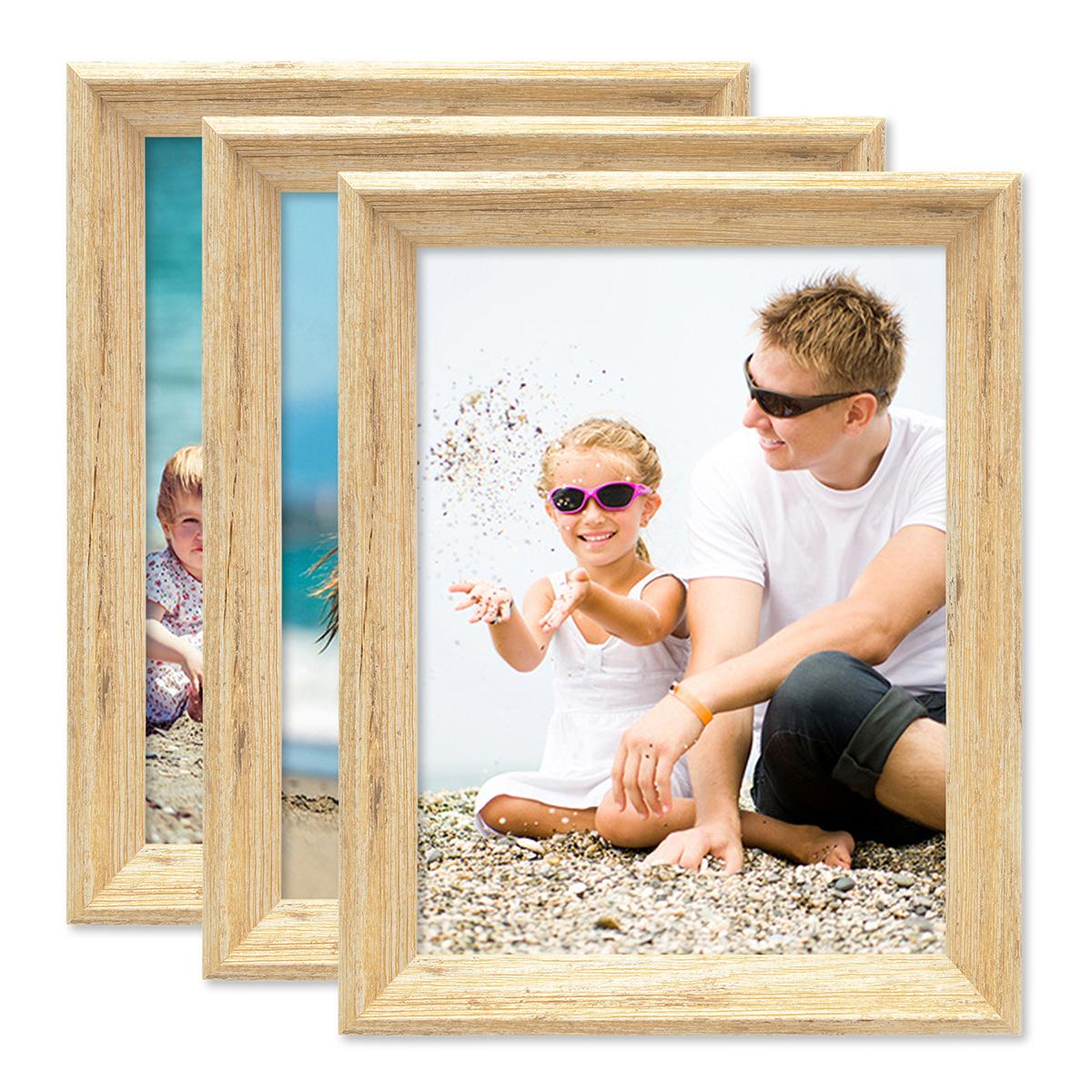 3er set vintage bilderrahmen shabby chic eiche 15x20 cm massivholz mit glasscheibe und zubeh r. Black Bedroom Furniture Sets. Home Design Ideas