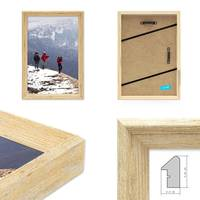 3er Set Vintage Bilderrahmen Shabby-Chic Eiche 20x20 cm Massivholz mit Glasscheibe und Zubehör / Fotorahmen / Portraitrahmen  – Bild 2